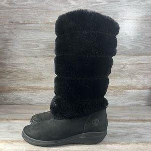 Timberland Kickadilla Faux Fur Leather Boots 6.5